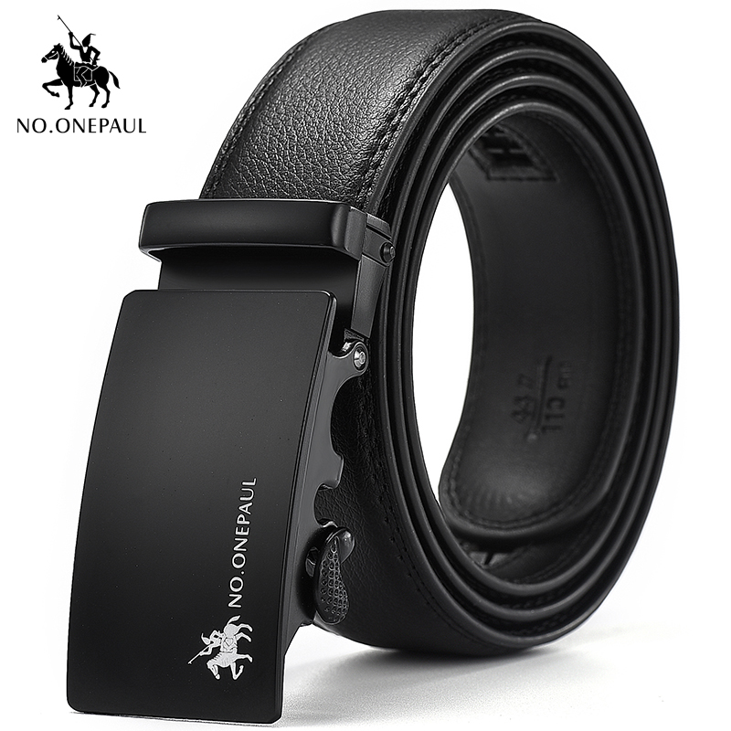 NO.ONEPAUL Men's Leather Material Belt Metal Alloy Automatic Buckle Luxury Brand Student Punk Style Man's Abdomen Waist Belt