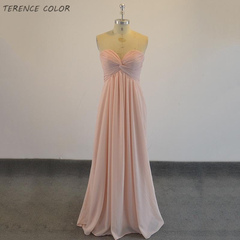Réel Simple longue robe de soirée jamais jolie sans manches froncé buste peau rose femme Maxi mousseline de soie livraison gratuite robes Vestidos