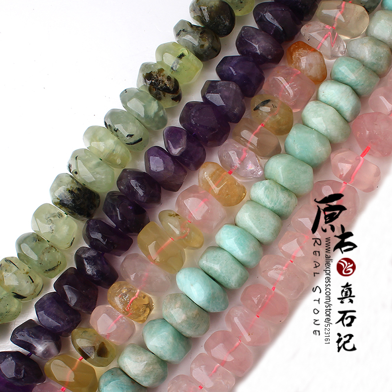 20pcs Nature Amethyst Amazon Pink Rose Faceted Quartz Crystal Beads 7x13mm-10x15mm Punched Loose Rondelle DIY AAA Jewelry Beads