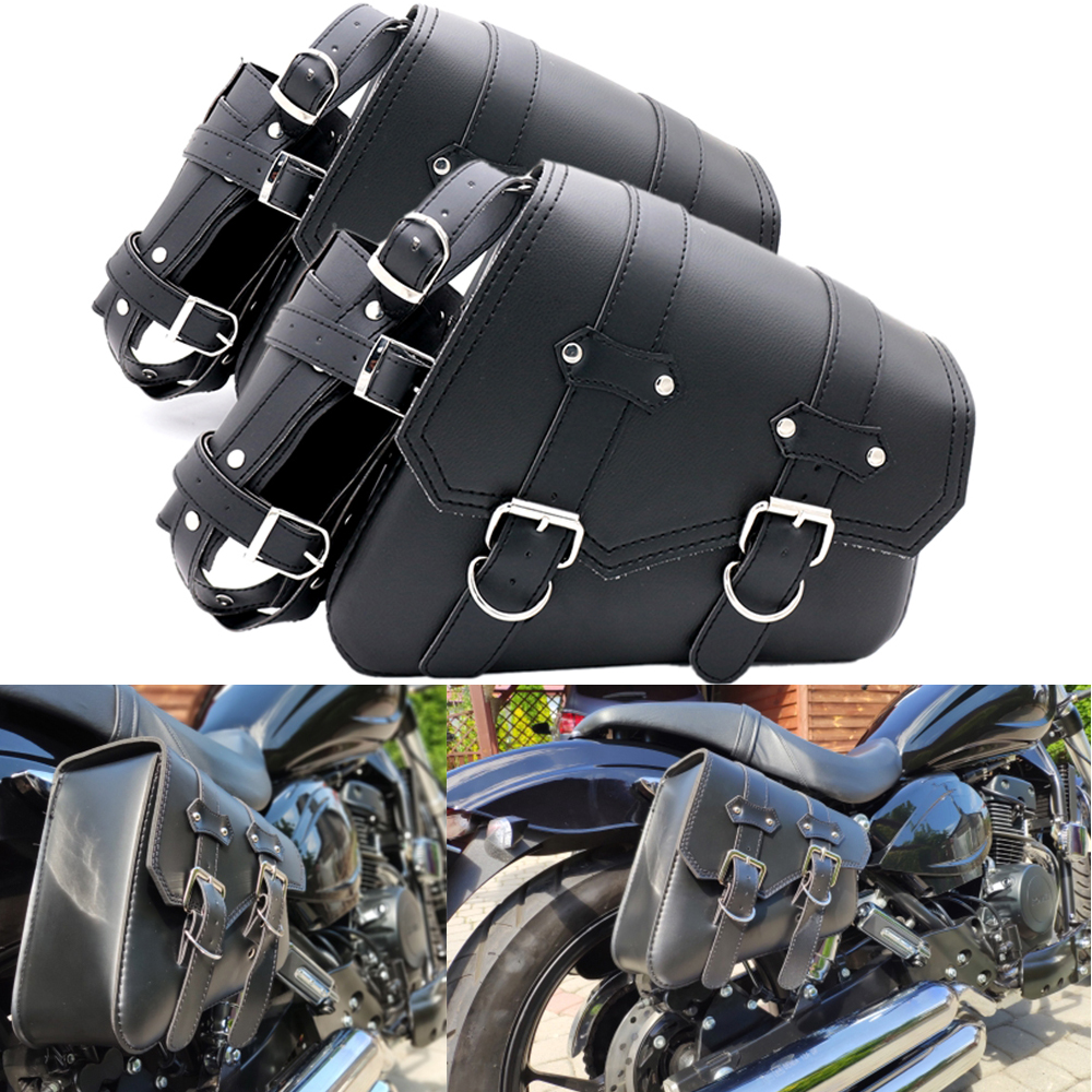 Motorcycle Leather Saddle Bag Tool bag For Honda Shadow Spirit Aero Ace VT700 VT750 VT1100 Yamaha V-Star <font><b>XVS</b></font> 650 <font><b>1100</b></font> Custom image