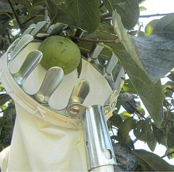 Metal Fruit Picker Convenient Fabric Orchard Gardening Apple Peach High Tree Picking Tools