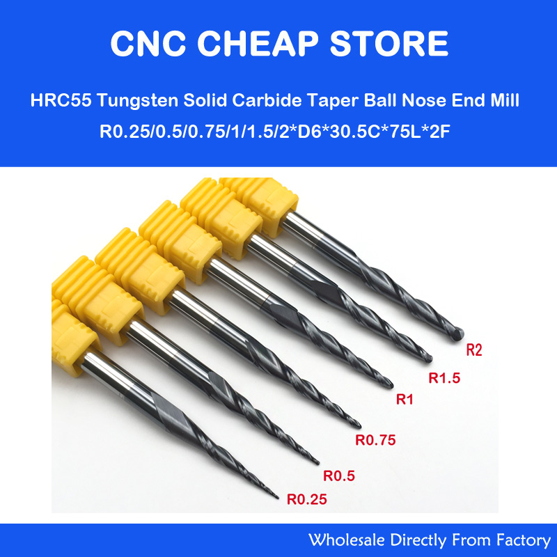 6 Models,R0.25 R0.5 R0.75 R1.0 R1.5 R2.0,CNC solid carbide woodworking router bit,NANO HRC55 tapered ball nose end mill,Cone bit серьги коюз топаз серьги т103023572