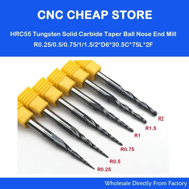 R0.5*D6*30.5*75L 2-Flute HRC55 Taper Ball Nose End Mill CNC Drill Bit Tool