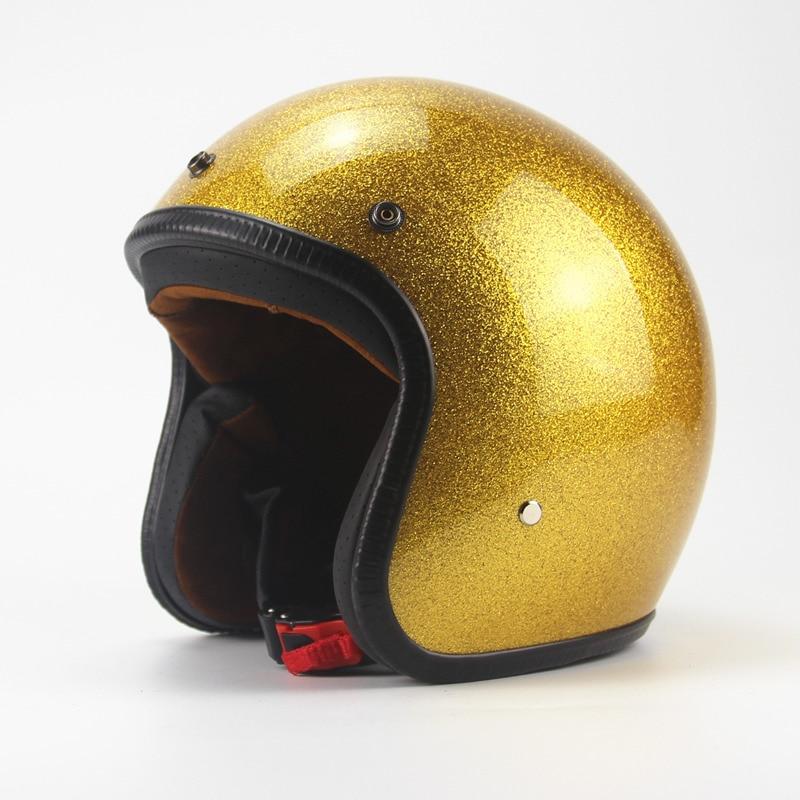Hot Sale Unisex Vintage Motorcycle Helmets Open Face Half Motorbike Helmet Capacete free shipping S M L XL XXL size gold color цены онлайн