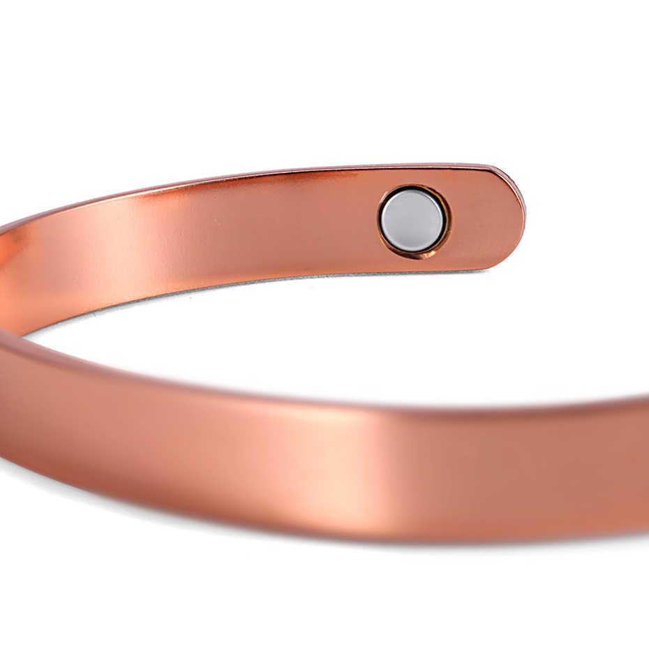 Rainso 純銅腕輪女性磁気治療関節炎のための腕輪調整可能オープンカフワイドブレスレット & バングル