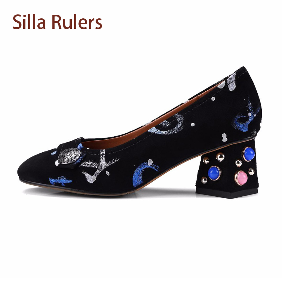 Silla Rulers Spring New Crystal Heel Rivet Square Med Heel Women Pumps Shoes Print Suede Shallow Mouth Slip On Women Dress Shoes 2018 spring summer new women s pumps scrub sheepskin flowers rhinestone coarse high heel shallow mouth craft shoes