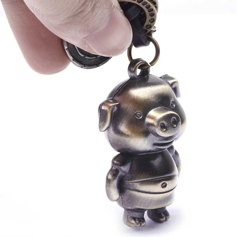 UBEAUTY Bronze Porco Dos Desenhos Animados Amantes Anel Chave Do Presente Bolsa Pingente Mulheres Bugiganga anel Chave chaveiro Chaveiro Carro Chaveiro Inovador