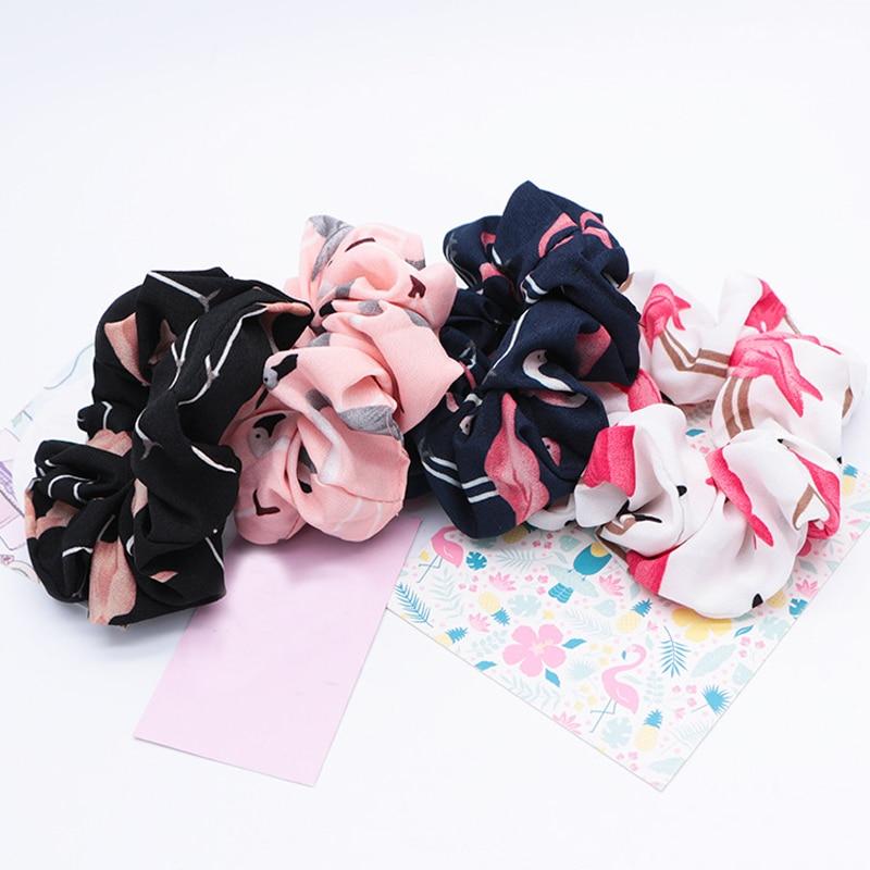 Women Flamingo Fashion Elastic Hair Ties Girls Cute Headband Rings Rope Ponytail Holder Scrunchie Hair Accessories   Headwear