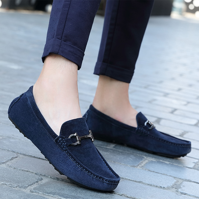 Winter Man Fur Loafers Dark Blue Khaki Driving Male Loafers Comfortable Suede Loafers Mens Lightweight Casual Shoes Men
