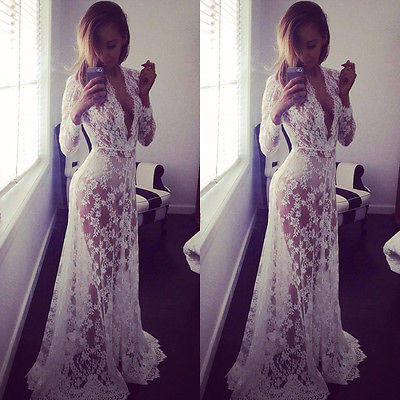 Women Lace Bikini Beach Cover Up Long Dress Beachwear Sundress