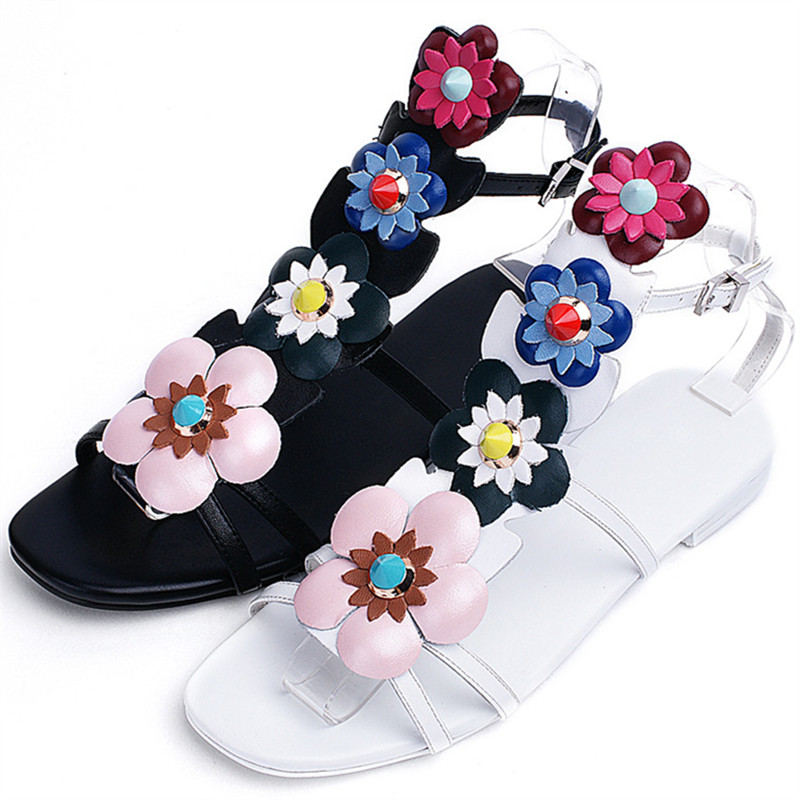 850e995cd4e592 ... quality 34 buckle summer flower 43 sandals big shoes leather fashion  top hot flat size women