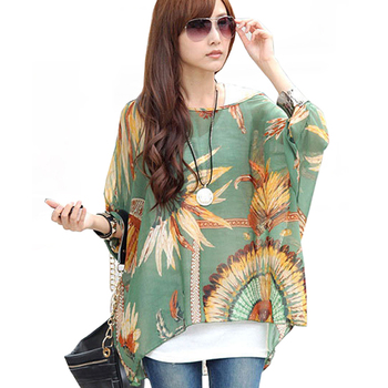 Womens Tops and Blouses 2018 New Fashion Batwing Casual Loose Summer Blouse Shirt Floral Print Boho Chiffon Tops Chemise Femme