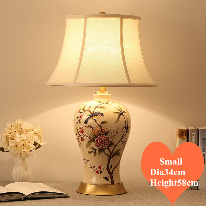 Chinese rural flower bird ceramic small Table Lamps retro handsewn linen shade copper base E27 LED lamp for bedside&foyer MF033