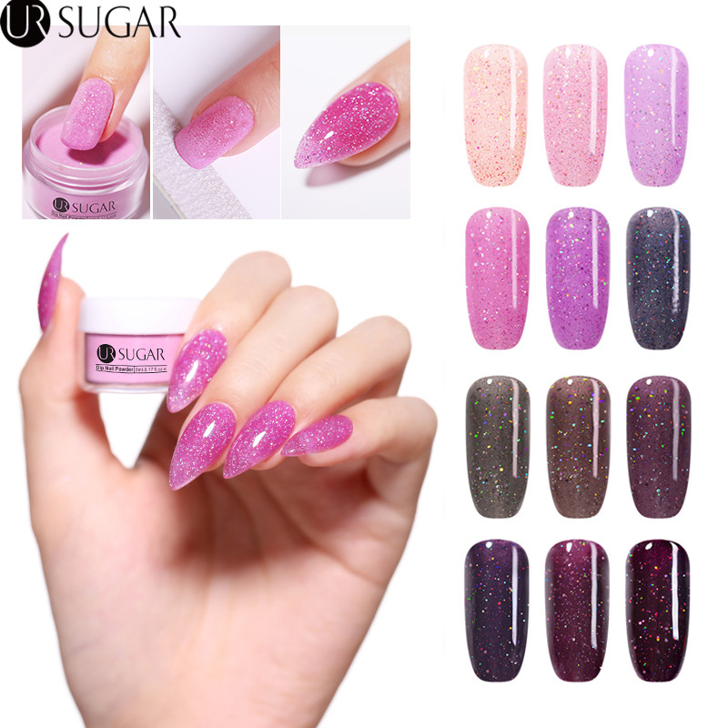 UR SUGAR 5ml Holographic Dipping Nail Powder Shiny Glitter Dust Pink Dip Powders Natural Dry Without Lamp Cure Decoration