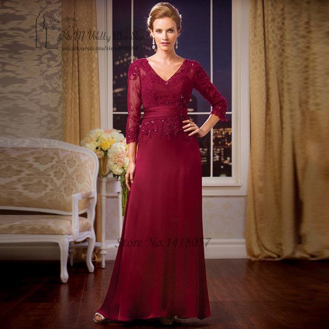 2017 Gorgeous Burgundy Mother of the Bride Lace Dresses Plus Size ...