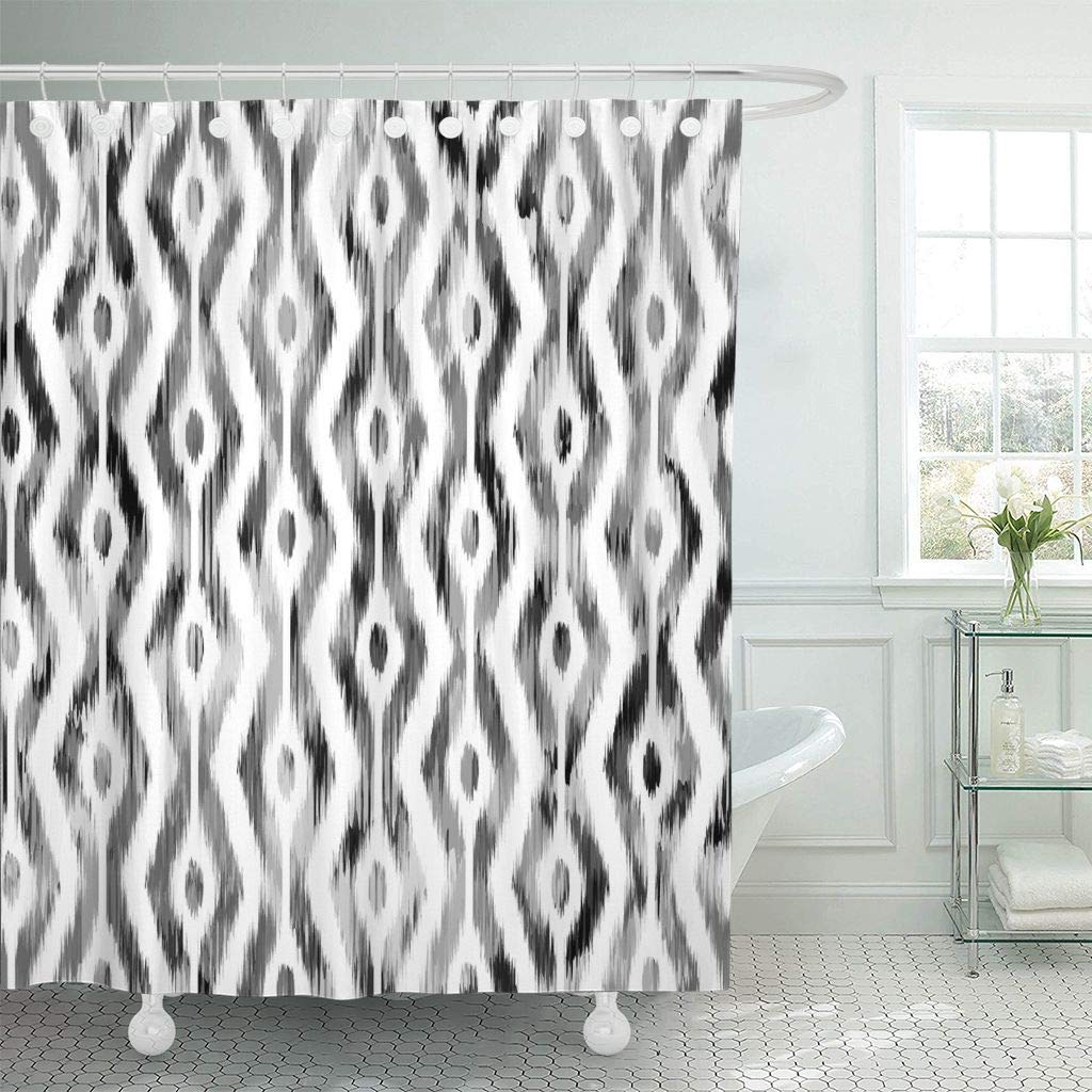 Fabric Shower Curtain Abstract Ikat Design Batik Black Classic Damask Dye Ethnic Graphic