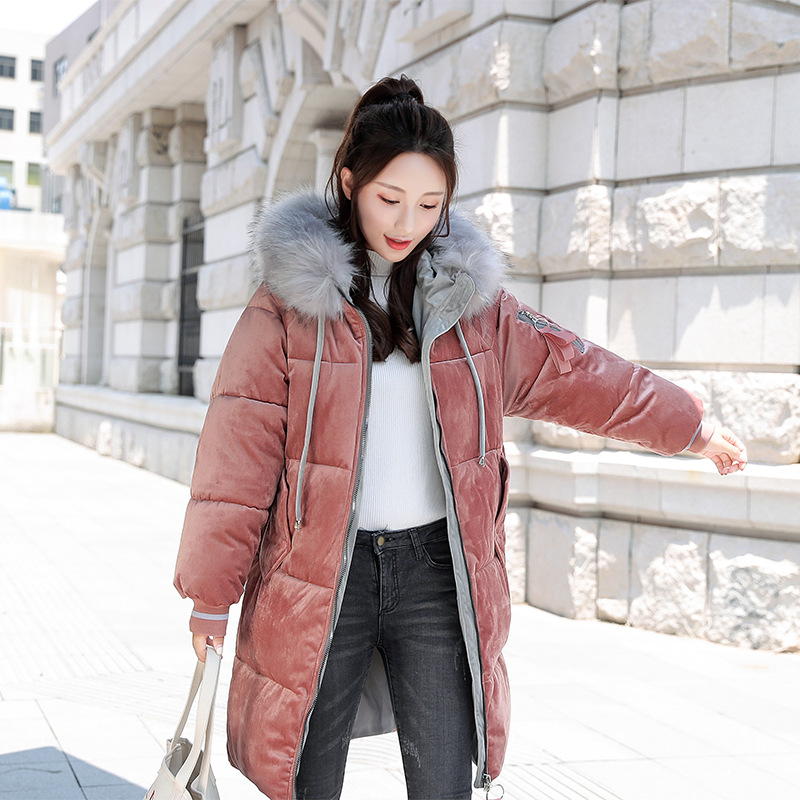 Women loose jacket   parka   2018 Gold velvet autumn and winter wear Korean cotton down long coats jacket female   parkas   coat jackets