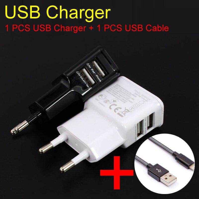 5V/2A 1 Pieces Dual USB Charger Adapter EU <font><b>Plug</b></font> + 1pcs USB Cable for Samsung Phone for iPhone for Huawei for <font><b>Smartphone</b></font>