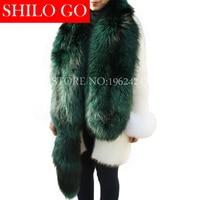 Darmowa wysyłka 2016 moda nowy wysokiej jakości damska moda zima modele Milan srebrny-zielony hit kolor futra lisa szal