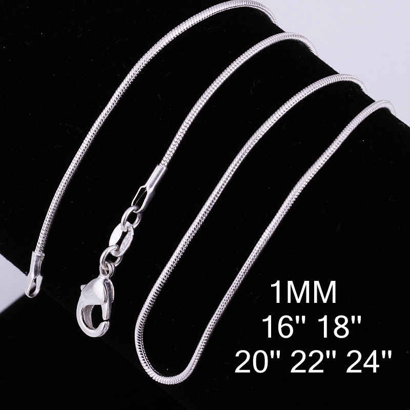 C008 16-24 inch Miễn Phí vận chuyển Nhà Máy Giá rắn vòng cổ chuỗi sự quyến rũ đồ trang sức thời trang bạc mạ