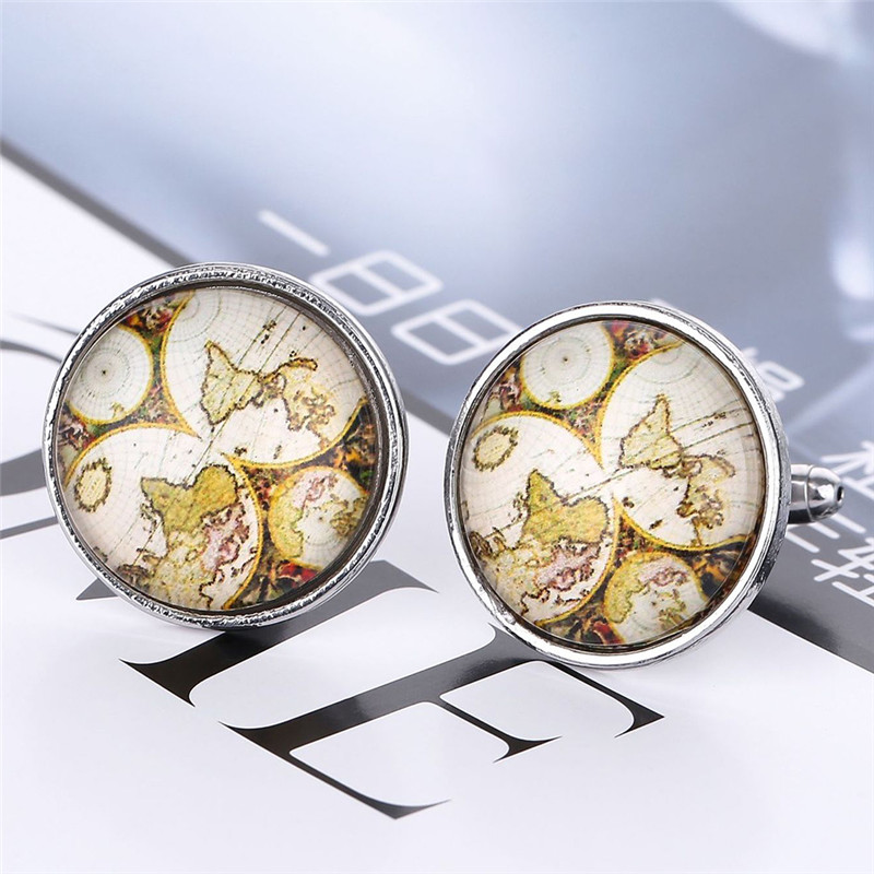 1 Pair New Arrival Vintage Antique Map Cufflinks Plated Cufflinks Card Old World Cufflinks For Men And Women