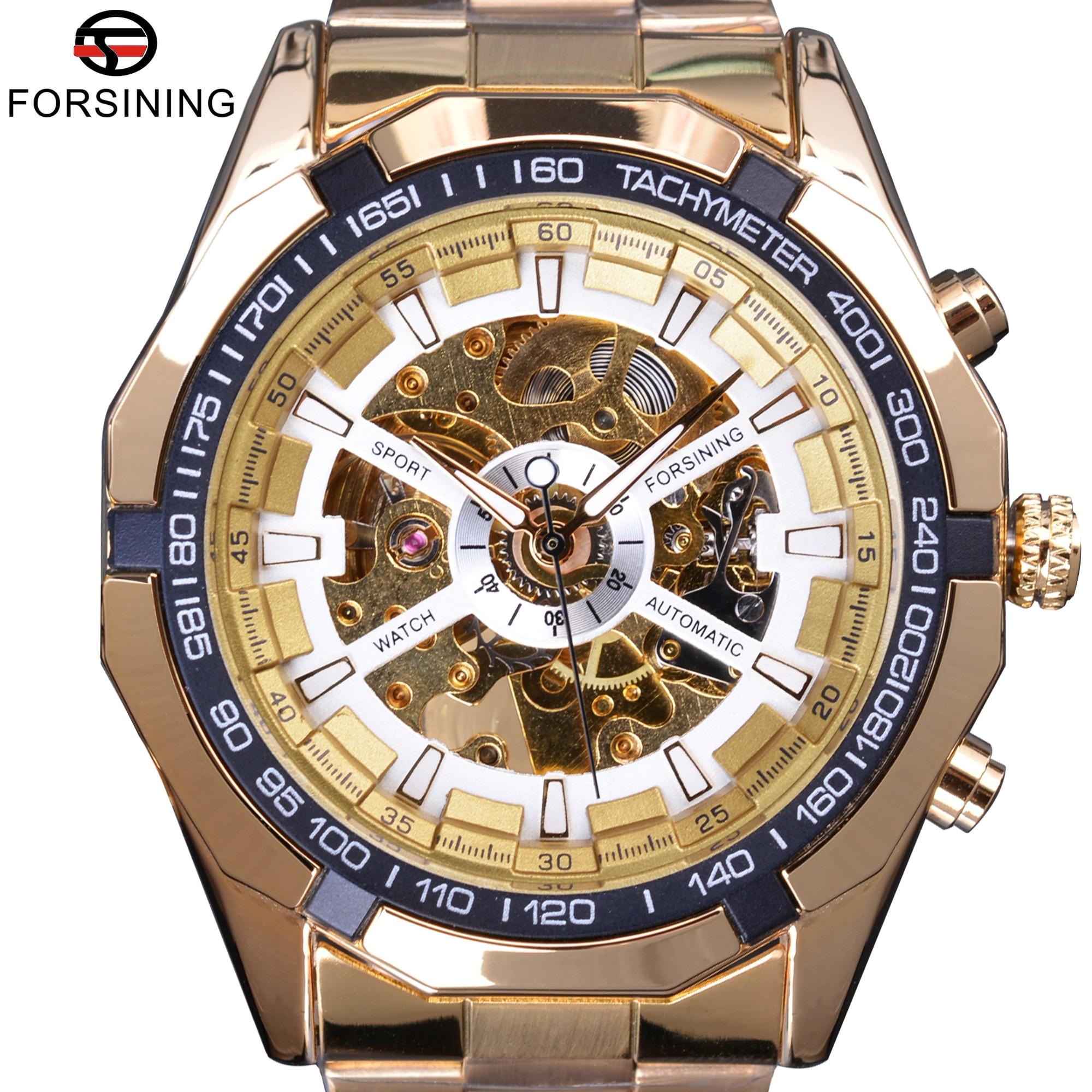 0b39d7952ff Forsining Clássico Transparente Ouro Mens Relógios Top Marca de Luxo Dos  Homens Do Esporte Relógio Automático Relógio Esqueleto Masculino Relógio De  Pulso ...