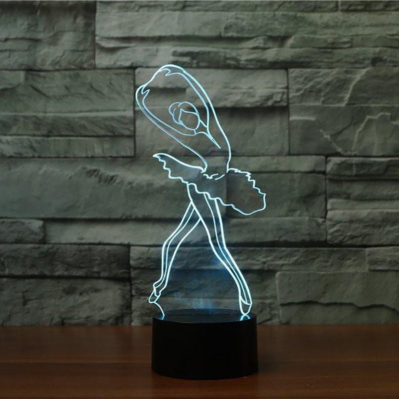 3D Ballet Girl Cute Ballerina Night Light LED Table Lamp For Children Kids Gift Christmas Indoor Decor Baby Sleep Light Fixture