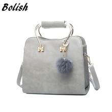 Bolish High Quality PU Leather Women Top-handle Bag Fashion Hairball Women Shoulder Bag Small Crossbody Bag