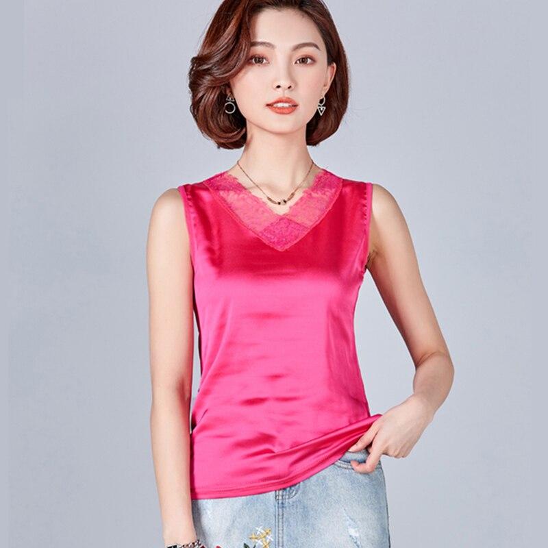 Korean Fashion Silk Women Blouses Lace Mesh back Satin Pink Women Shirts Plus Size XXXL Blusas Femininas Elegante Ladies Tops
