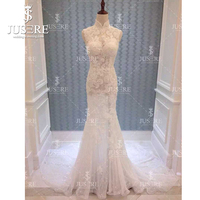 Jusere Neckline Illusion Exquisite Lace Appliques Sleevelesss Mermaid Keyhole Back Transparent Wedding Dress 2018