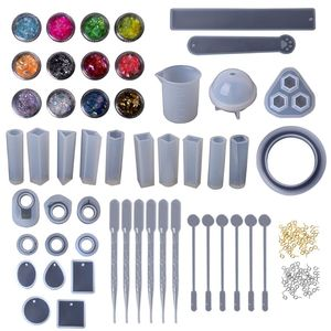 Image 2 - 1 Set Epoxy Resin Kit DIY Jewelry Making Tools Shiny Powder Cup Silicone Mold Necklace Pendant Ring Gifts Handmade Creative
