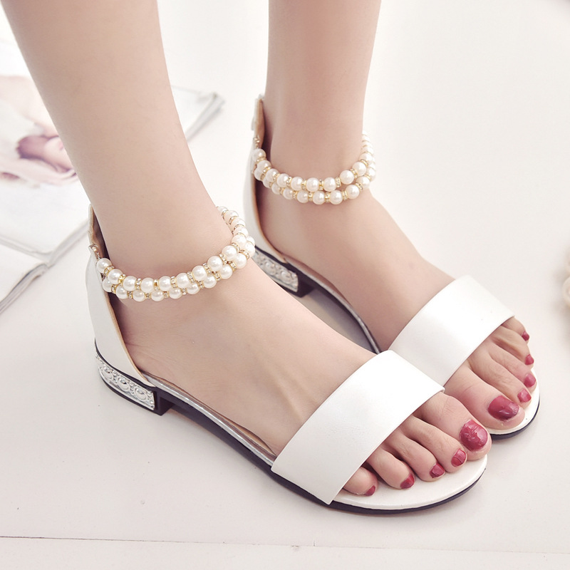 Bohemian Women Summer Sandles Simple Upper One Band Pearls Beading Women Low-heeled Sandals Gladiator Casual Women Sandals Shoes
