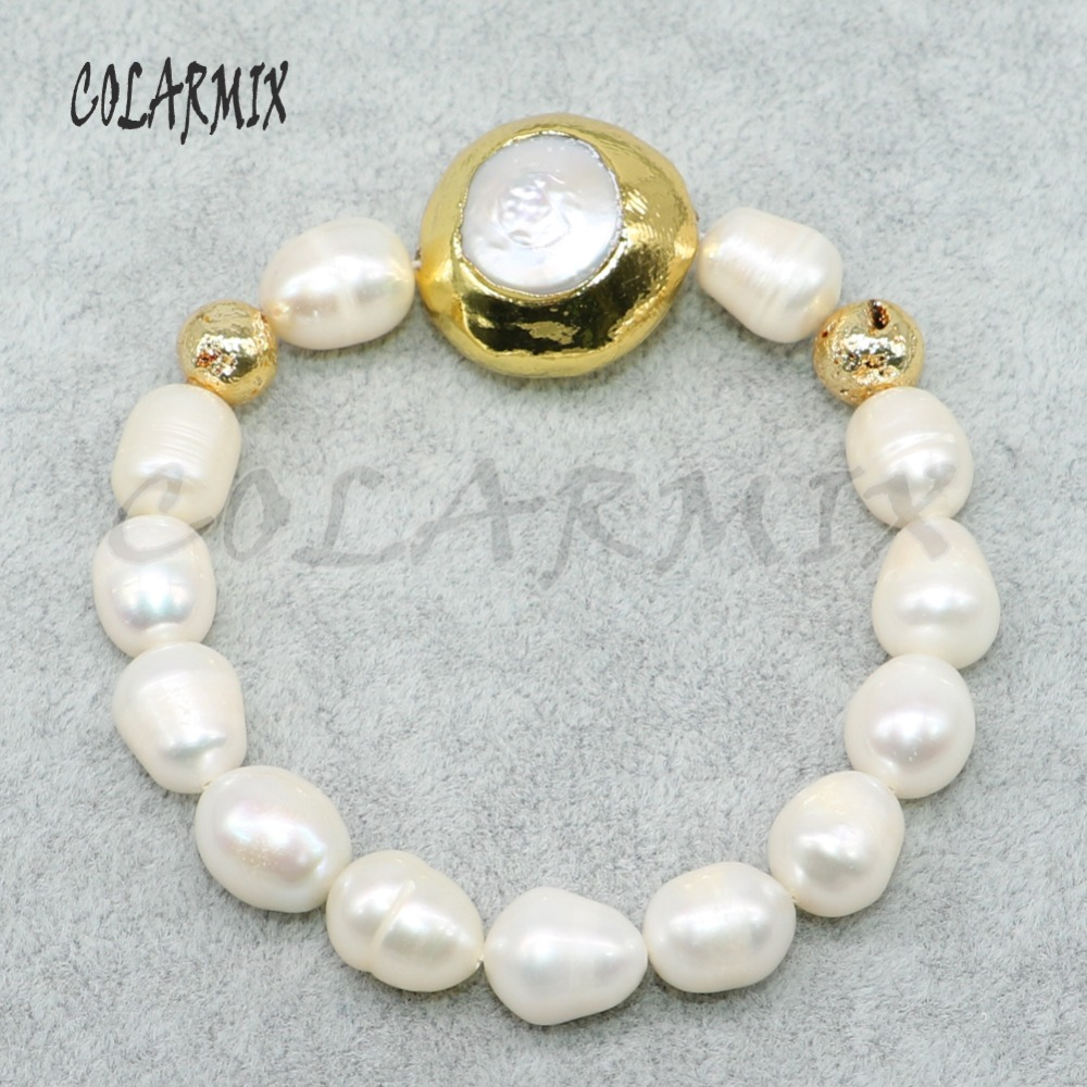 6Pcs Handcrafted natural pearl strand bracelets gold color plated pearls charms natural pearls Beaded bracelet bangle