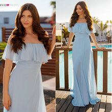 2018 New Blue Elegant Bridesmaid Dresses Long High Split Ever Pretty Brand EP07171 Шифонове плаття для Весільної вечірки feestjurken