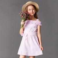 girl's shoulder revealing dress vest hanging stripe 10 year old girl's female big boy's summer outfit