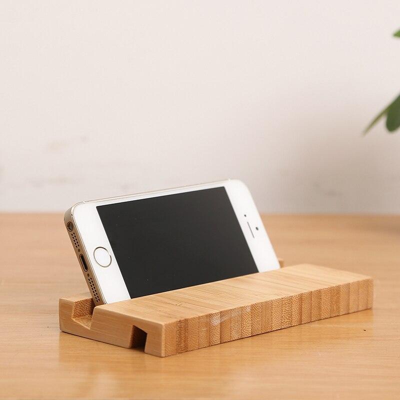 Support de téléphone portable de bureau pour iPhone support de Smartphone en bambou support universel Compatible avec tous les téléphones portables et iPad Mini