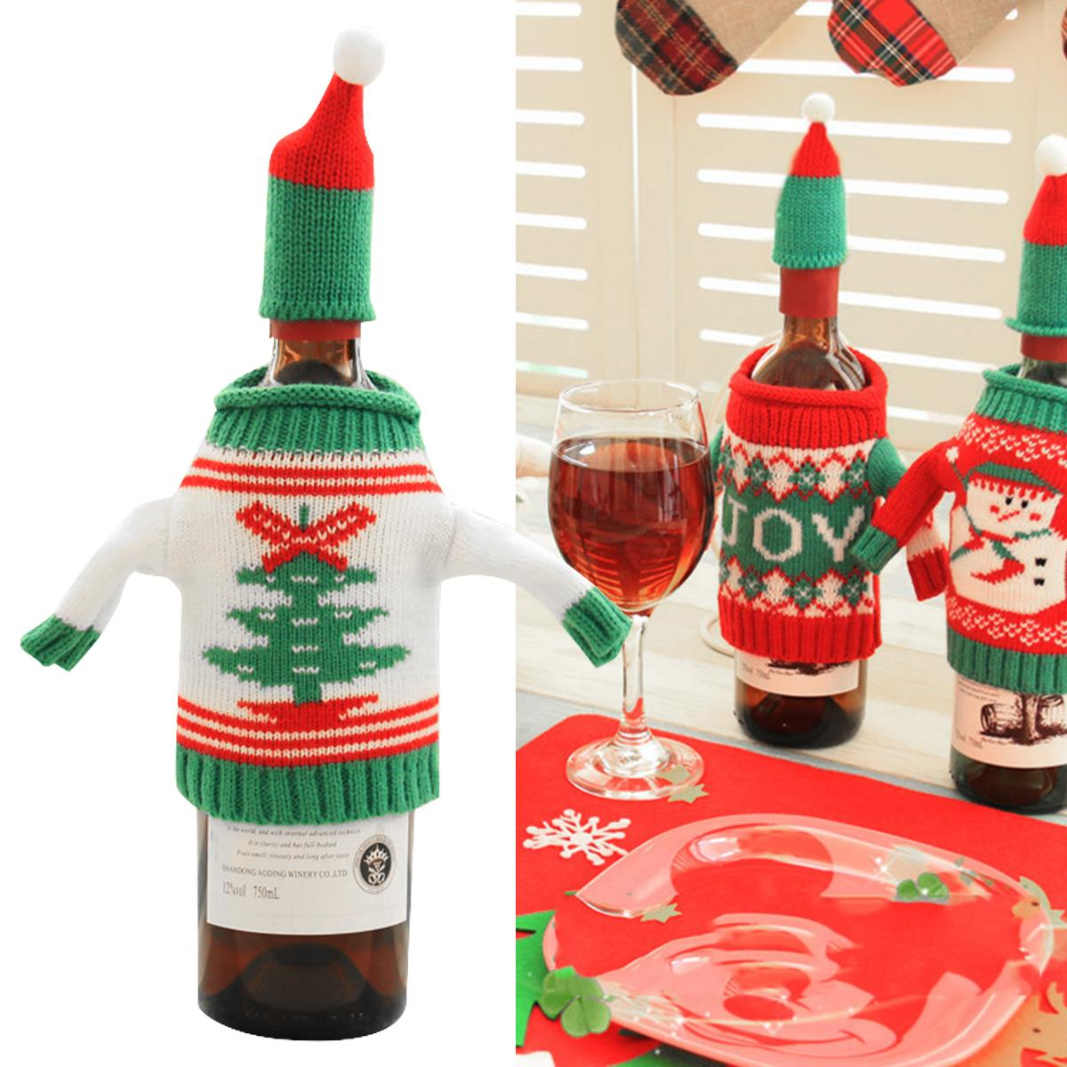 Hot 1pcs Fashionclubs Christmas Wine Bottle Knitted Ugly Sweater Covers Set in Pendant Drop Ornaments from Home Garden