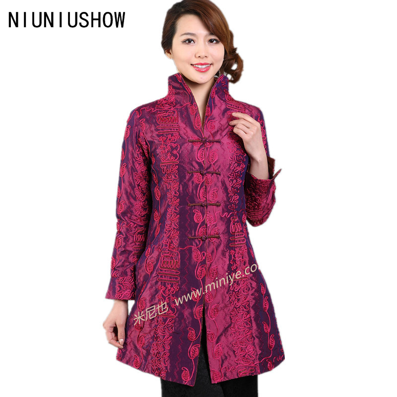 Discount Hot Pink New Female Silk Polyester Outwear Chinese Traditional Tang Suit Middle Aged Mother Long Coat Size S To XXXL