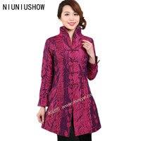 Descuento Hot pink nuevo poliéster de seda femenina Outwear chino tradicional juego de la espiga madre de mediana edad tamaño S a XXXL