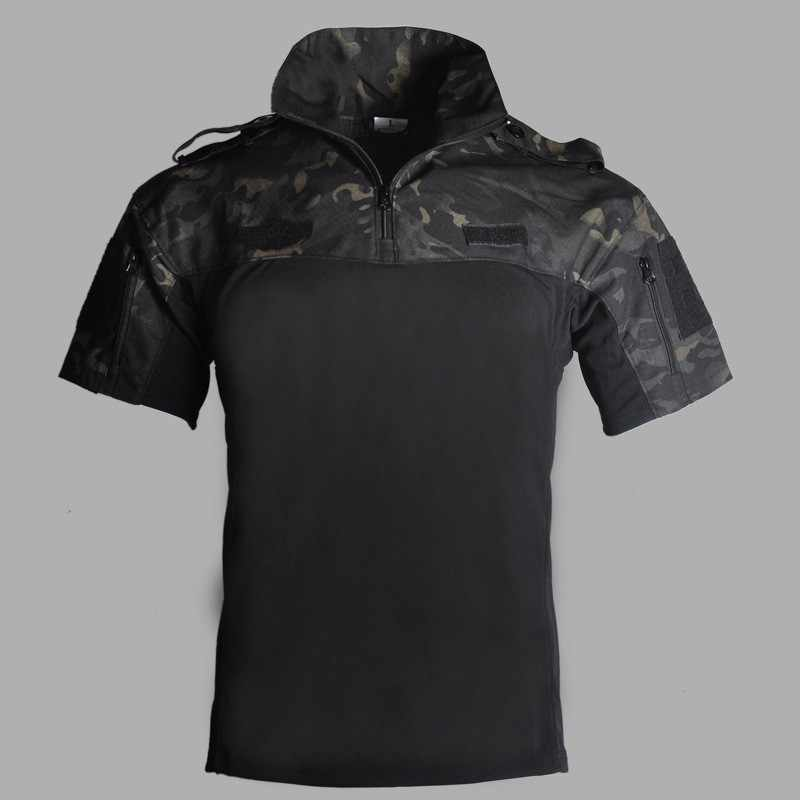 Summer Short Sleeve Military Uniform Tops Army Fan Combat Tactical Camouflage Clothes Outdoor CS Training Hunting Clothing Shirt