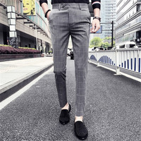 Male Slim Fit Plaid Casual Suit Pants Men Clothes Trousers Male Autumn Brand New Business Formal Wear Male Pant Dress Pants