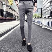 Male Slim Fit Plaid Casual Suit Pants Men Clothes Trousers Male Autumn Brand New Business Formal Wear Male Pant Dress Pants
