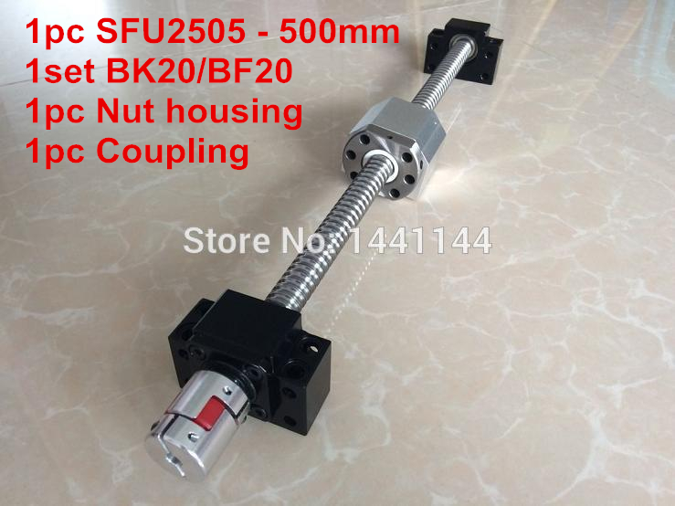 SFU2505- 500mm ball screw  with ball nut + BK20 / BF20 Support + 2505 Nut housing + 17*14mm Coupling sfu2510 600mm ball screw with ball nut bk20 bf20 support 2510 nut housing 17 14mm coupling
