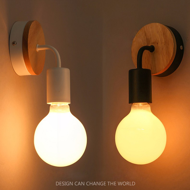 Modern Led Wood Wall Lamp Iron Metal Wall Light Fixtures Living Bedroom Home  Lighting Lamparas De