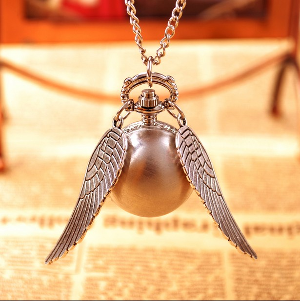 Free Shipping 100pcs/lot Silver Harry Potter Wings Antique Children Birthday Gift Steampunk Necklace Pocket Watches