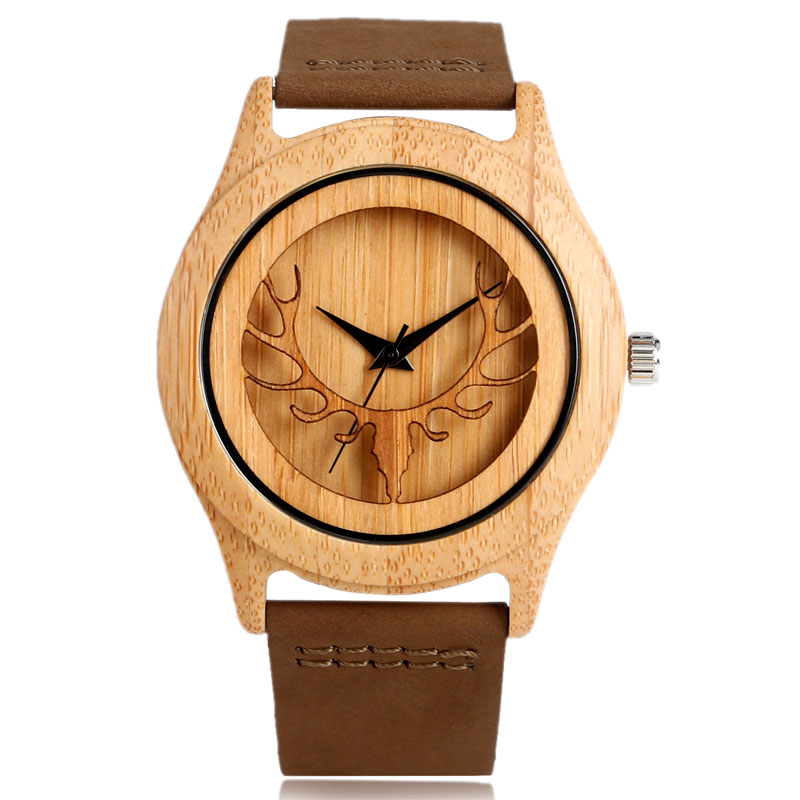 Wooden Elk Deer Head Bamboo Watches Men Women Genuine Leather Strap Casual Nature Wood Creative Hand-made Dress Wristwatch Gifts casual deer head genuine leather band nature wood quartz wrist watch elk bamboo strap men women analog brown creative cool gift