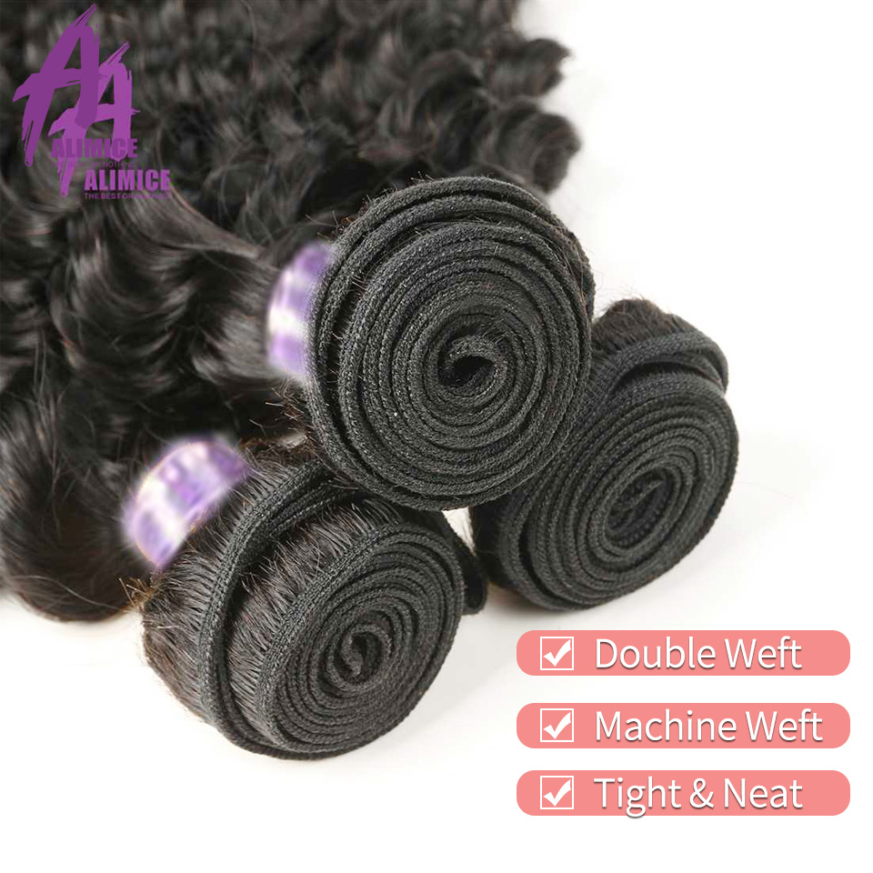 Brazilian Deep Wave Hair Weave 100% Human Hair Bundles With Closure - Mänskligt hår (svart) - Foto 2