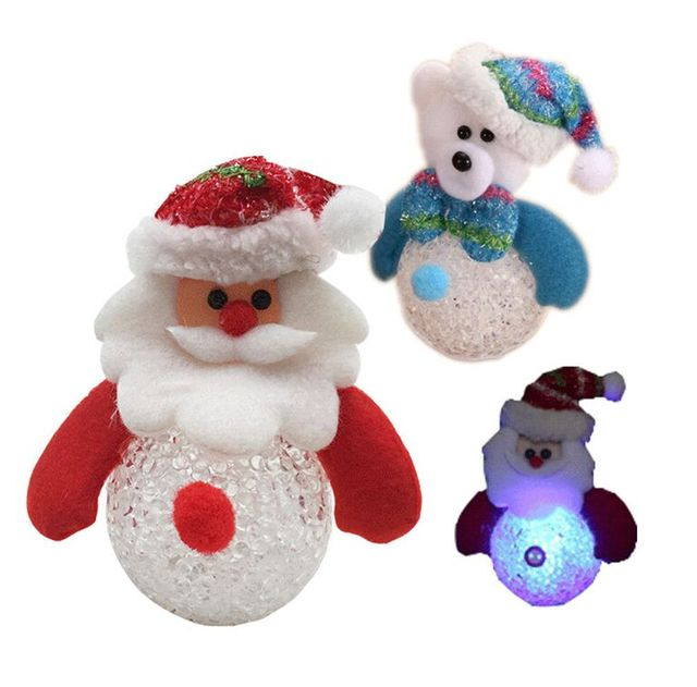 2pcs1set christmas decorations snowman candy box with light crystal christmas tree ornament c107 - Crystal Christmas Decorations