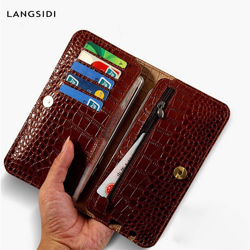 LANGSIDI Genuine Leather Case for Samsung Galaxy S7 Luxury Crocodile Texture Wallet Phone Bags Handmade Custom New Design