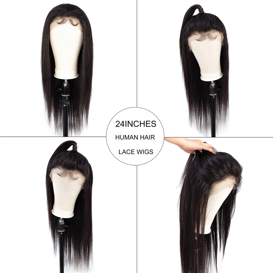 BY-360-Lace-Frontal-Wig-Pre-Plucked-With-Baby-Hair-Straight-Hair-Natural-Black-Remy-Full